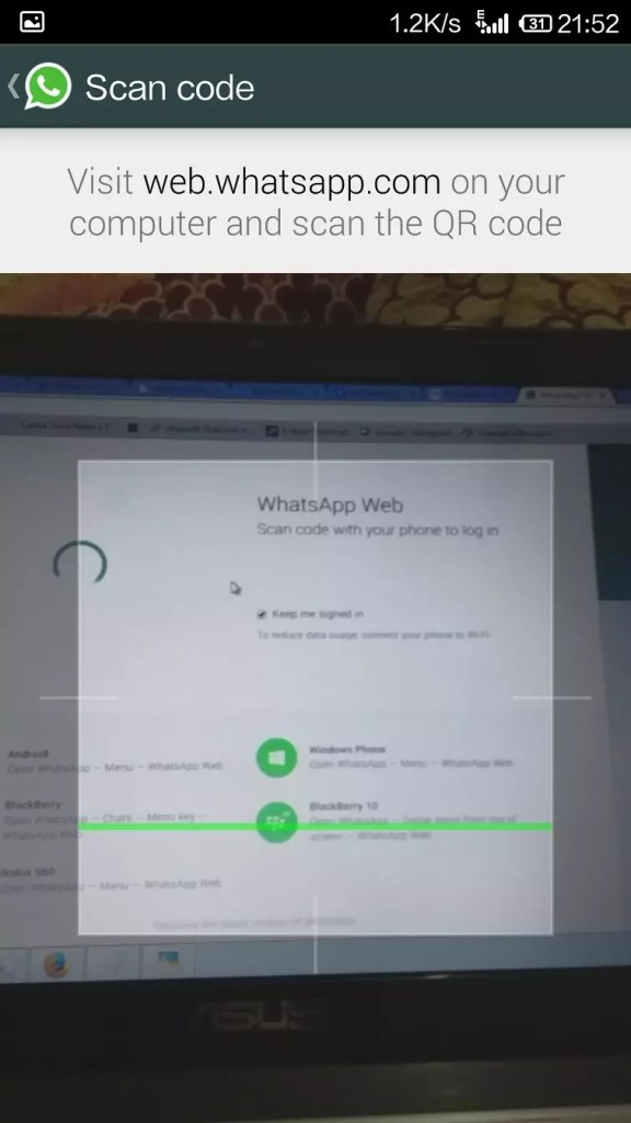Access WhatsApp on web browser - scanning QR code through phone