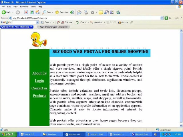 The home page of Secured webportal for online shopping