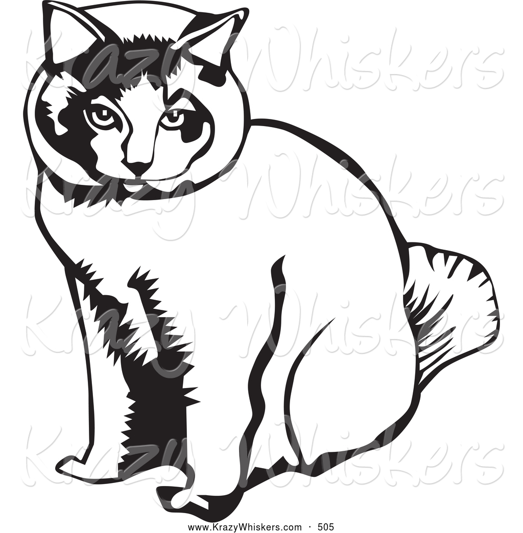 Critter Clipart Of A Calm Sitting Cat By David Rey