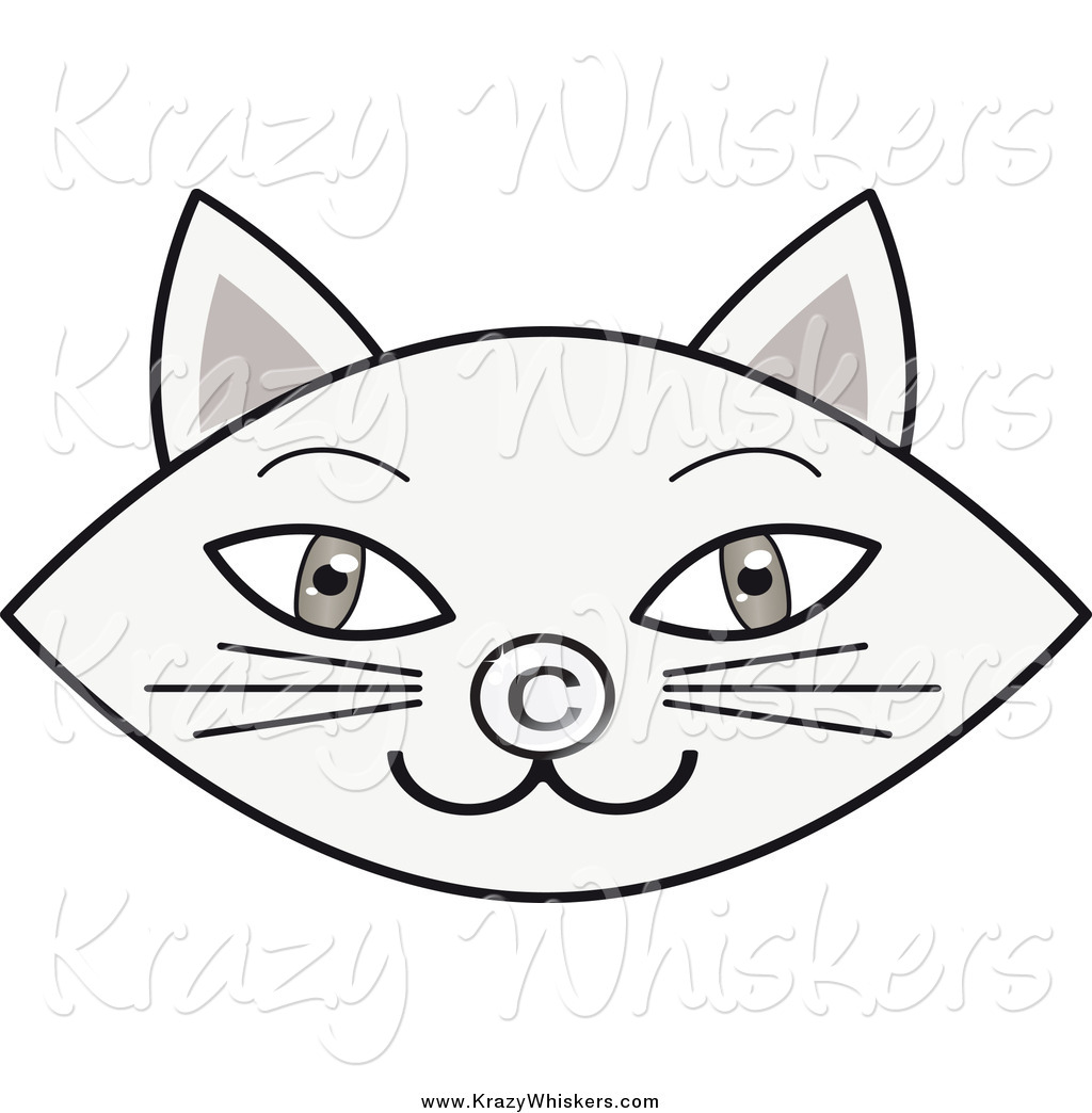 Critter Clipart Of A Gray Cat Face With A Copyright Nose