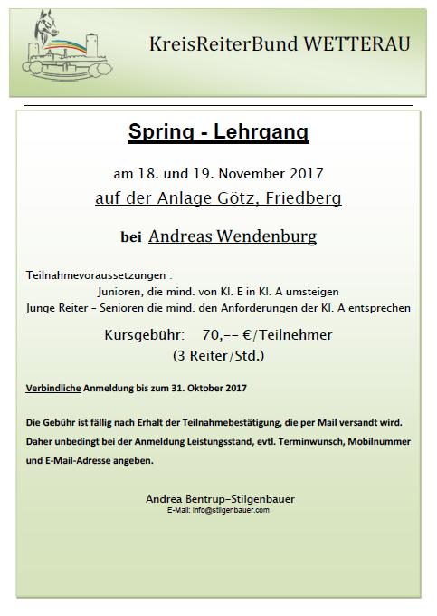 KRB Springlehrgang am 18.-19.11.17