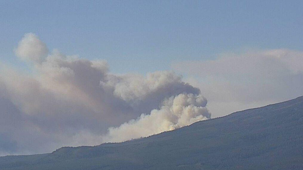 View of the Tenant Fire, burning off of US-97 and Tenant Rd., north of Weed in Siskiyou County. (ALERTWildfire // Mt. Bradley 1)<p>{/p}