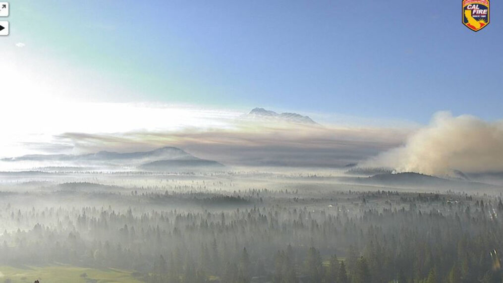 Smoke from the Lava Fire blocks the view of Mt. Shasta Wednesday morning (Photo from Cal Fire/Lake Shastina camera/KRCR)<p>{/p}<p>{/p}
