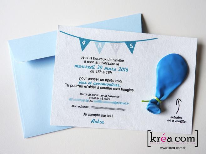 Invitation Anniversaire 4 Ans Robin Ballon Krea Com