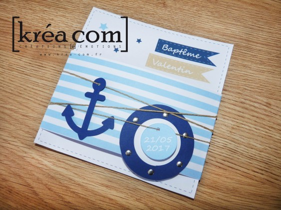 faire-part bapteme marin bateau bleu