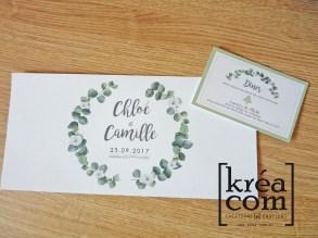 faire part mariage eucalyptus camille chloé et carte invitation diner