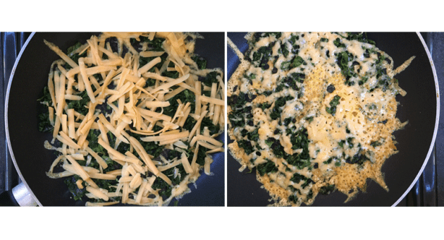 Crispy Cheddar, Kale and Broccoli Leaf Omelette