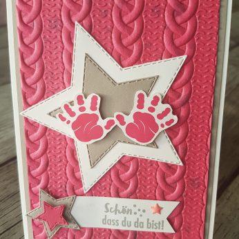 Baby-Karte in Wassermelone, Granit und Flüsterweiß, Glanzfarbe Frostweiß