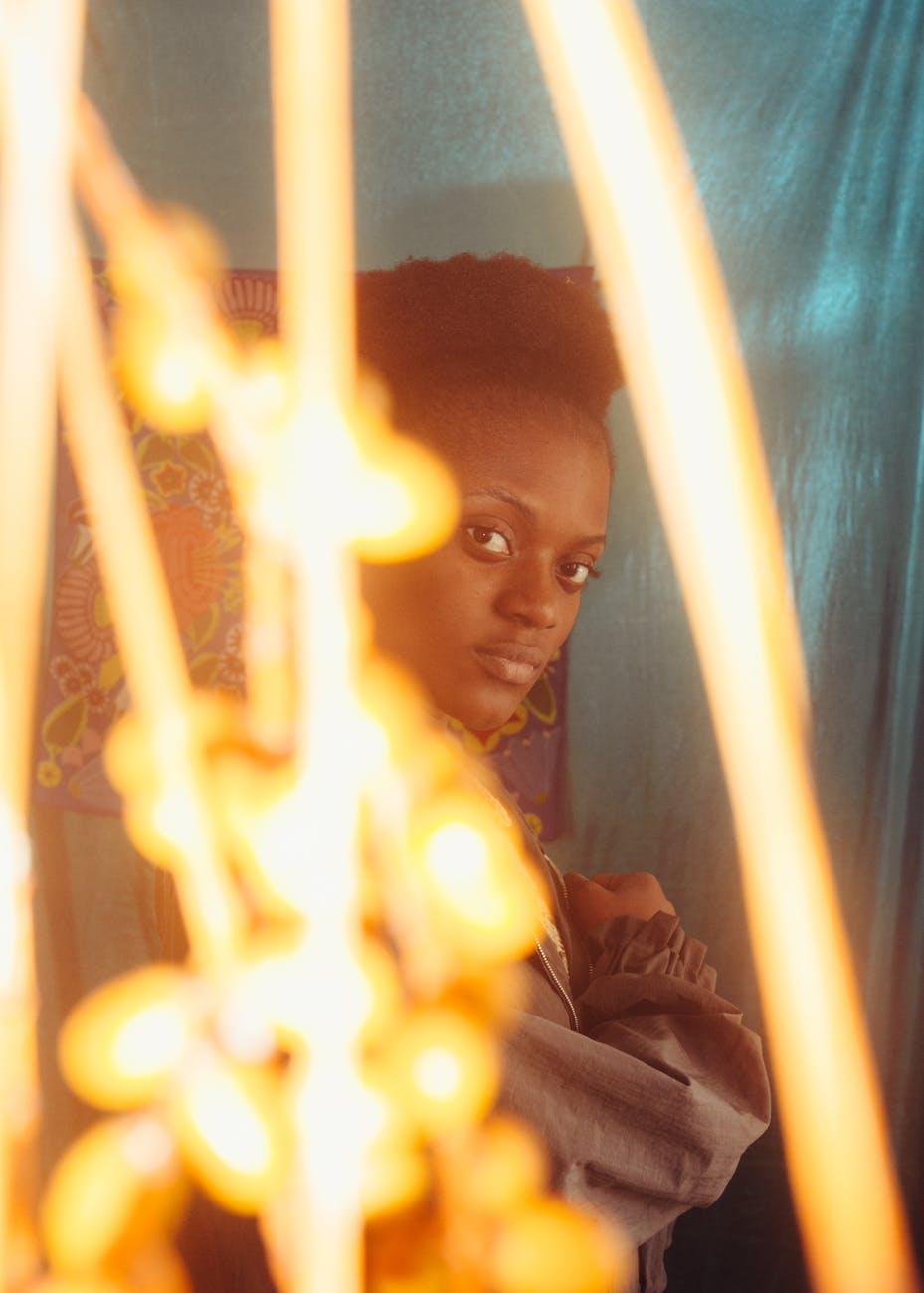 sensual black woman looking at camera