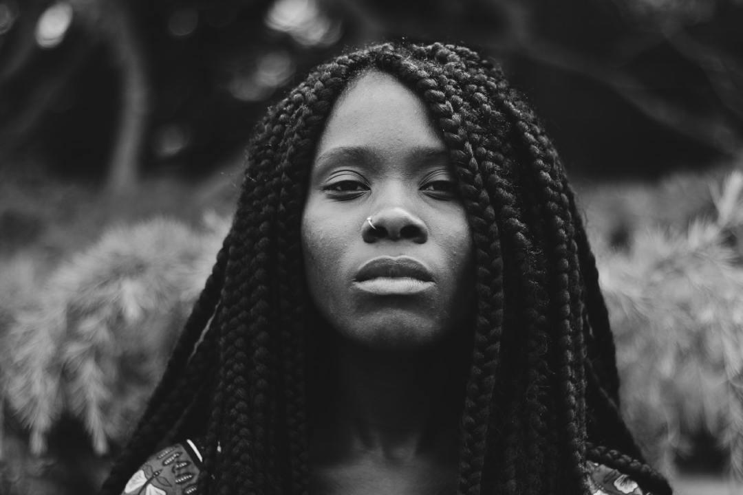 black woman with a sad face