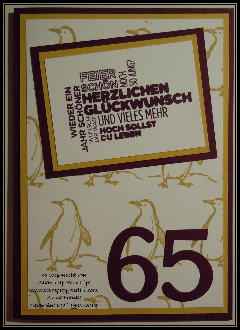 Karte zum 65 Geburtstag  Kreatives made in Hamburg