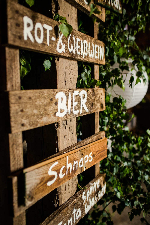 Hochzeit DIY  Getrnke Schild selbermachen  Paletten
