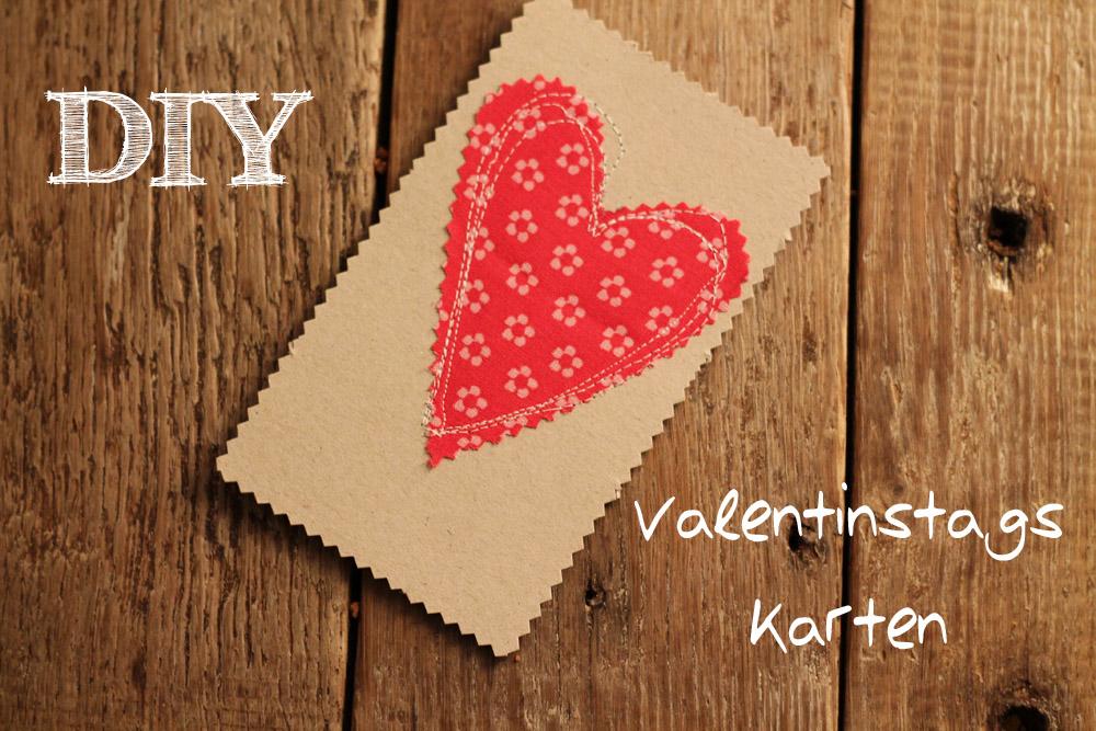 DIY Valentinstagskarten  Stoff auf Karton nhen selbermachen