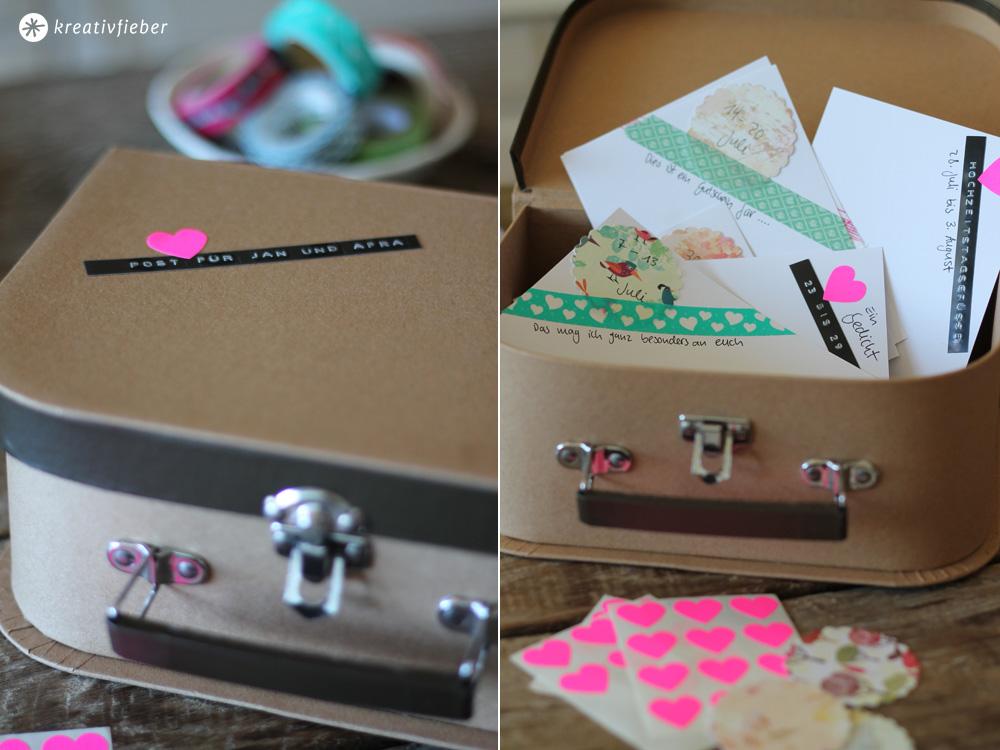 DIY Postkarten Hochzeitsgeschenk originelle Geschenkidee
