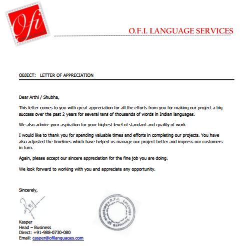OFI Language Services Testimonial