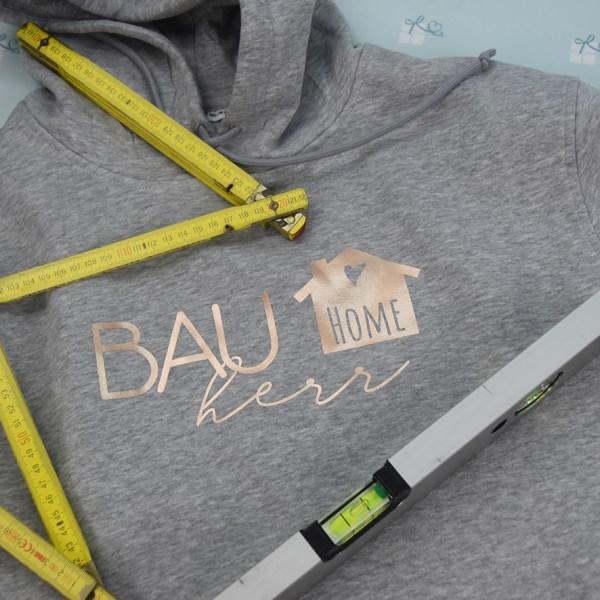 Bauherr - Hoodie - grau-Rose - Detail-1