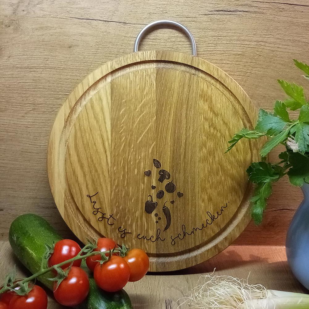 Holzbrett rund d 24cm mit Griff - Lasst es euch schmecken