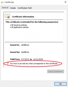 The vulnerable certificate from Dell. Image: Joe Nord