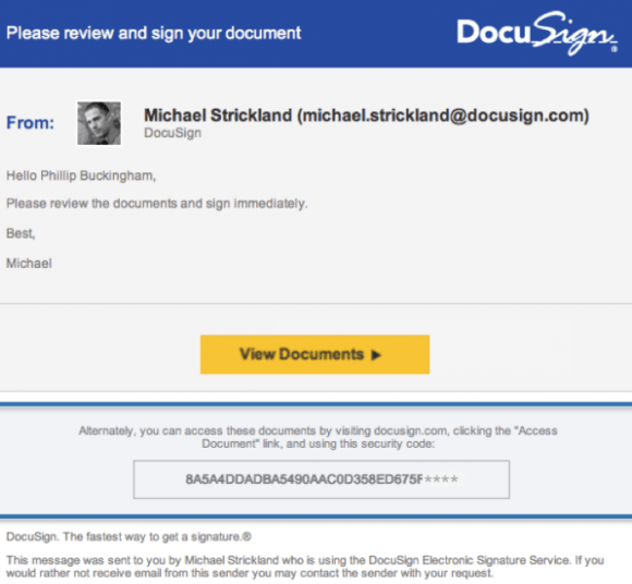 A typical DocuSign email. Image: DocuSign.