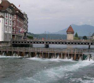 Needle dam of Lucerne regulating the lake level