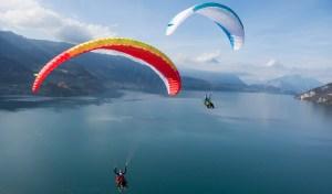 Paragliders over Lake Lucerne