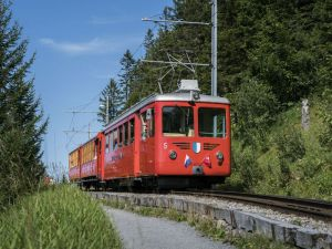 Red cogwheel rail car on Rigi