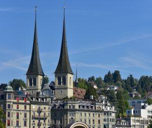 St Leodar church towers in Lucerne skyline