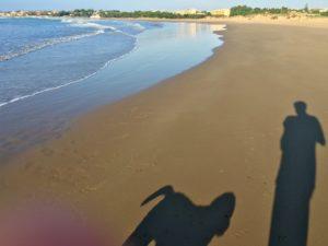 Dagarna börjar oftast med en strandpromenad med efterföljande dopp i havet. Både luft och vatten har fortfarande dryga 20 plusgrader.