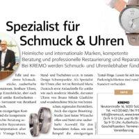 Mode & Schmuck KREMO in Salzburgerin - Salzburger Juwelier KREMO kreativ modern Anzeige Salzburgerin 2018 Trauringe,Eheringe Uhren, Schmuck und Ankauf Gold Silber