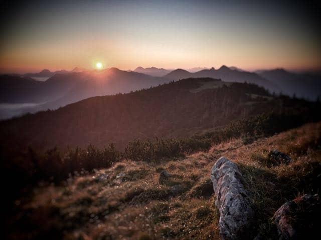 Sonnenaufgang am Hirschberg, aufgenommen mit einem iOS Gerät