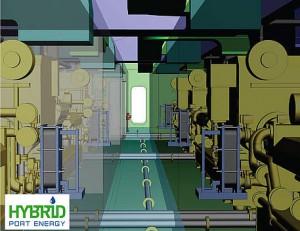 Maschinenraum innen LNG Hybrid Barge