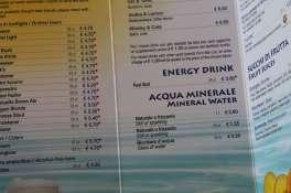 Getränkepreise MSC Kreuzfahrten