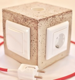 diy concrete lamp with switch and power outlet [ 4288 x 2848 Pixel ]