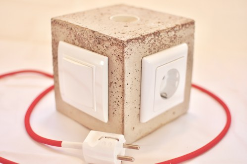 small resolution of diy concrete lamp with switch and power outlet