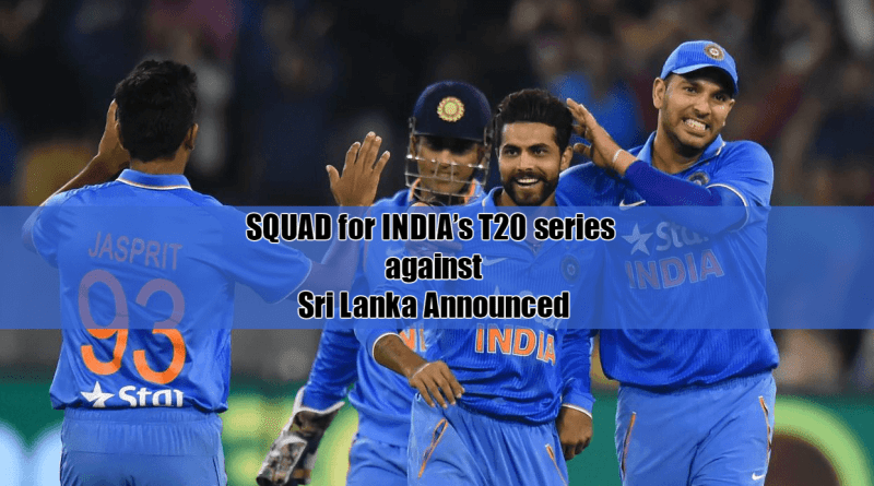 Squad for India t20