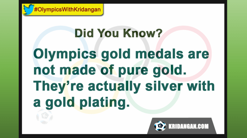 Olympics gold medals are not made of pure gold. Theyíre actually silver with a gold plating.
