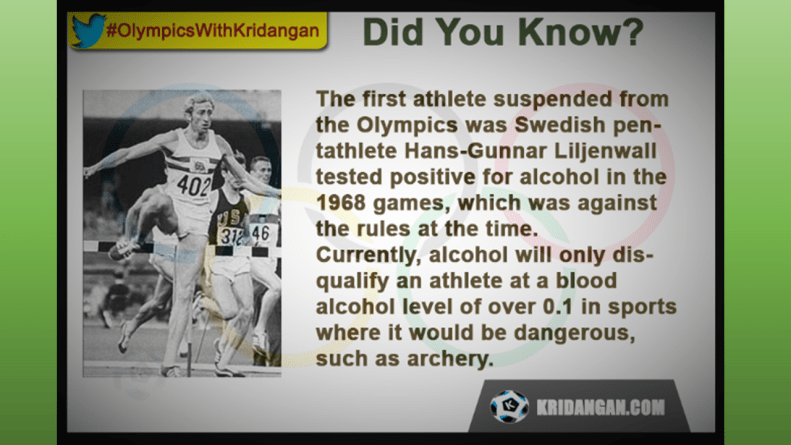 The first athlete suspended from the Olympics was Swedish pentathlete Hans-Gunnar Liljenwall tested positive for alcohol in the 1968 games, which was against the rules at the time. Currently, alcohol will only disqualify an athlete at a blood alcohol level of over 0.1 in sports where it would be dangerous, such as archery.