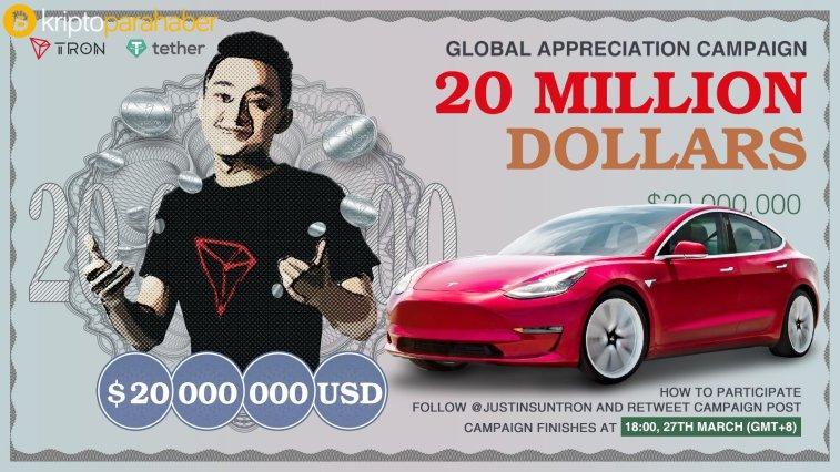 Tron'un kurucusu Justin Sun çıldırdı, milyon dolarlar ve araba dağıtacak