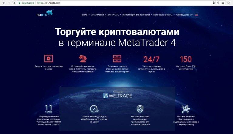Непокрытая продажа криптовалюты от HitBTC через брокера Weltrade