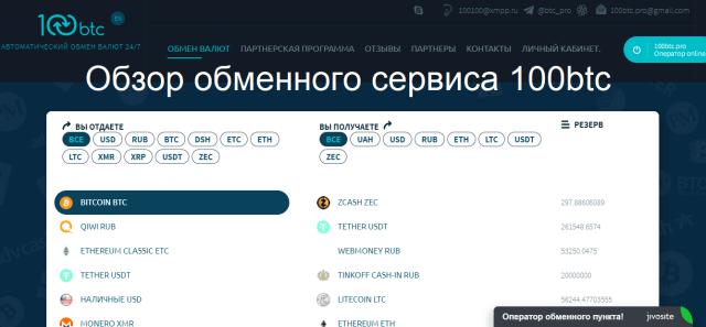 Обзор обменного сервиса 100btc