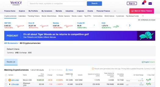 На порталі Yahoo Finance з'явився розділ про криптовалюти