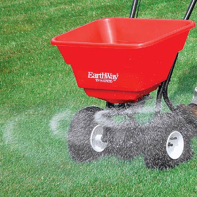 """Use a """"Broadcast Lawn Spreader"""" for grass seed, lime, fertilizer, and """"weed & feed"""" granules"""