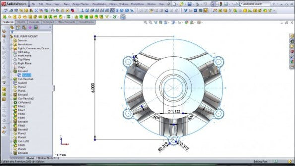 3D CAD Modeling - SolidWorks - High Performance Engine Part - Fuel Pump Mount - 1