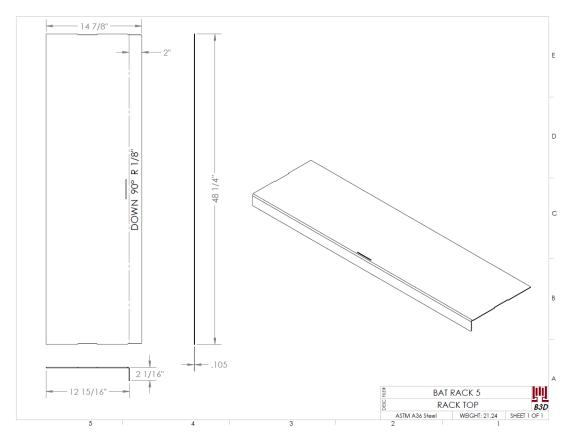 Little league dugout bat rack and batter helmet shelving stand - basic dimensioned sheet metal bend print