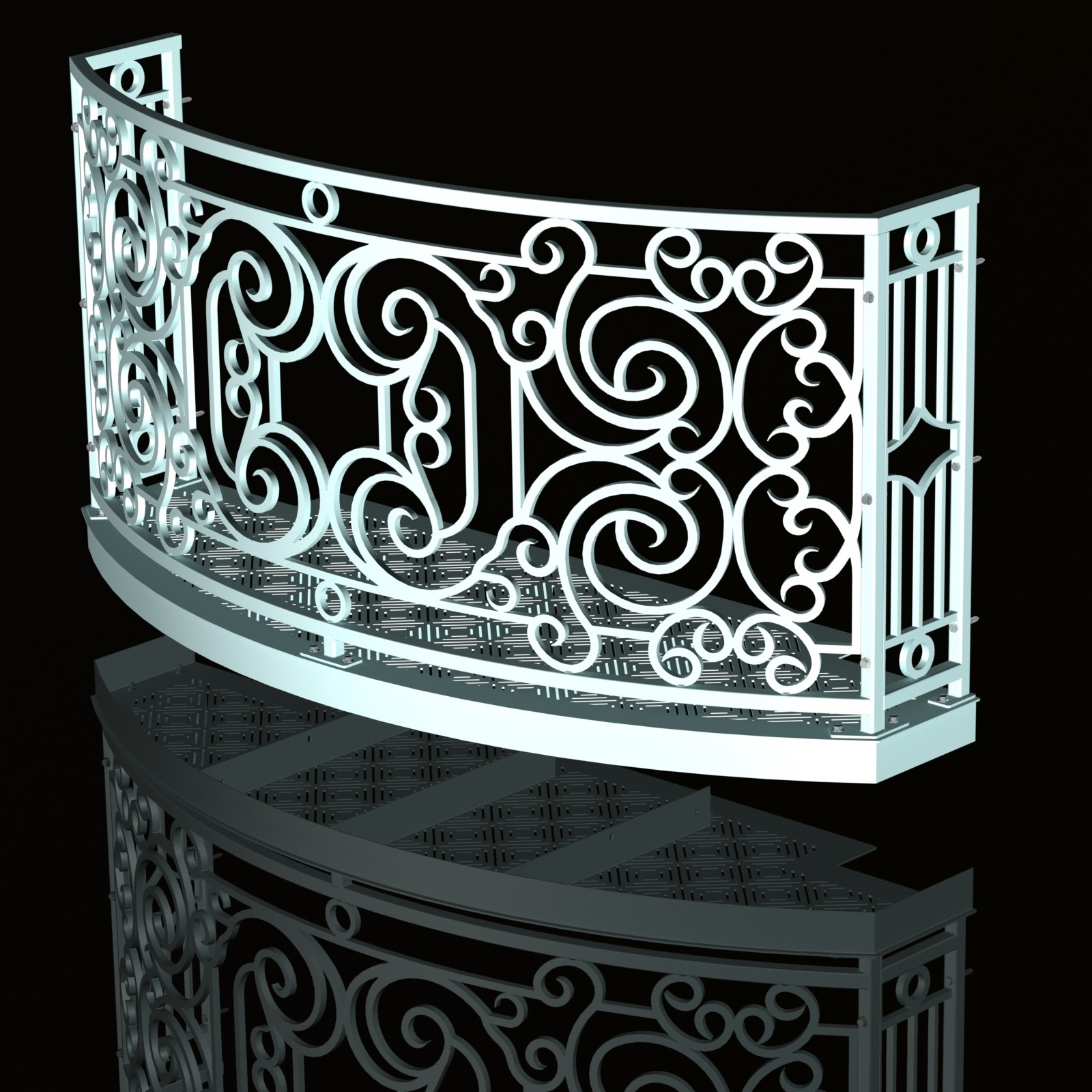 Balcony Render 7 - Curved Wrought Iron Look with Grate Deck - Pitch Black background, Reflection, Hardware - Cropped