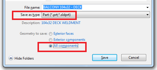 Save SolidWorks .SLDASM file as .SLDPRT part file with All components radio button checked