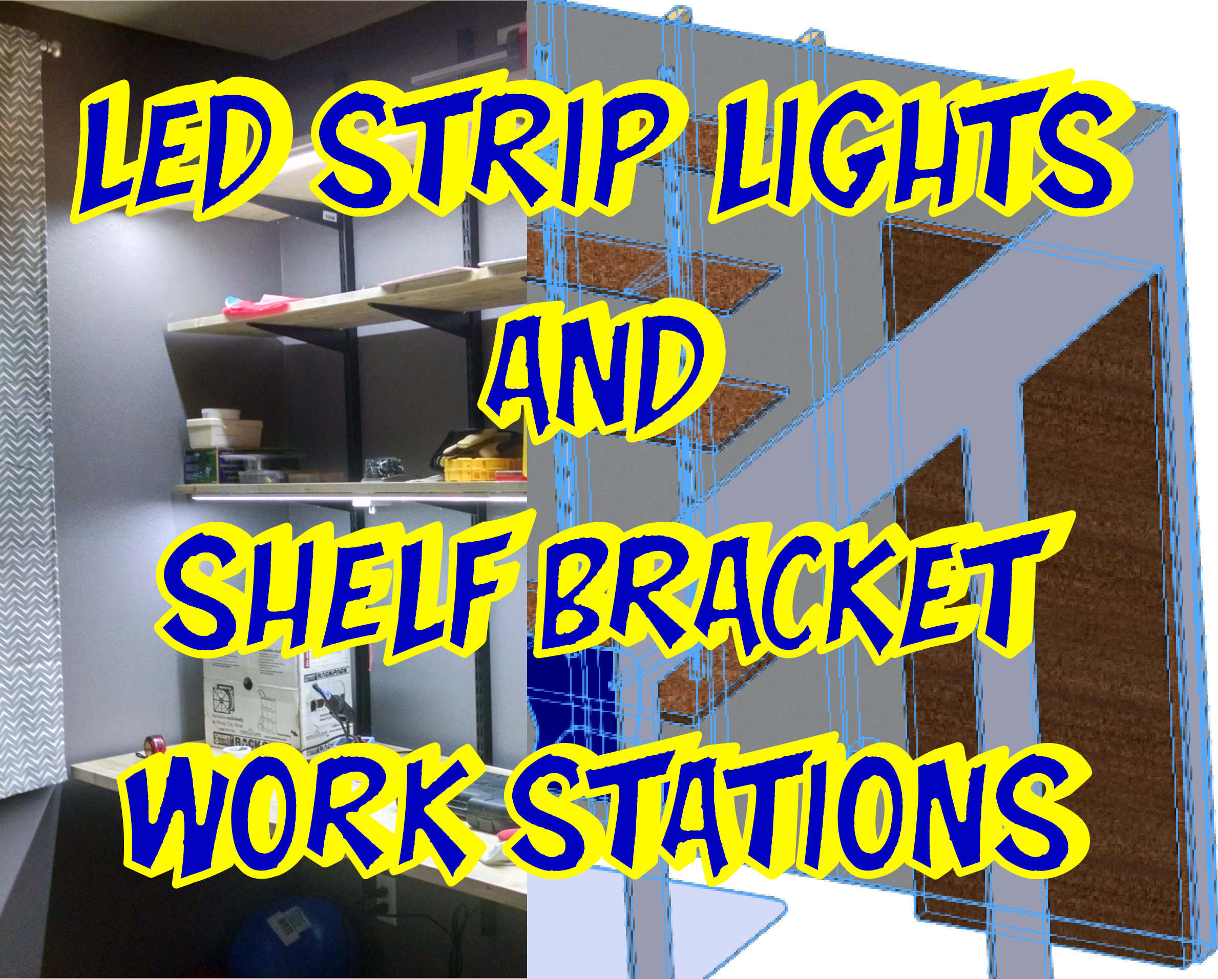 LED STRIP LIGHTS AND SHELVING BRACKET DESK WORKSTATIONS