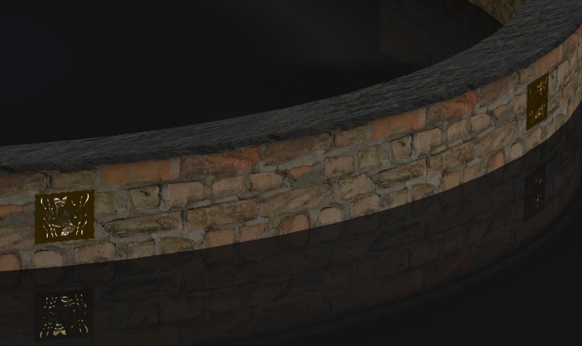 DECORATIVE KOI HARDSCAPE LIGHT SCREEN RENDER WALL