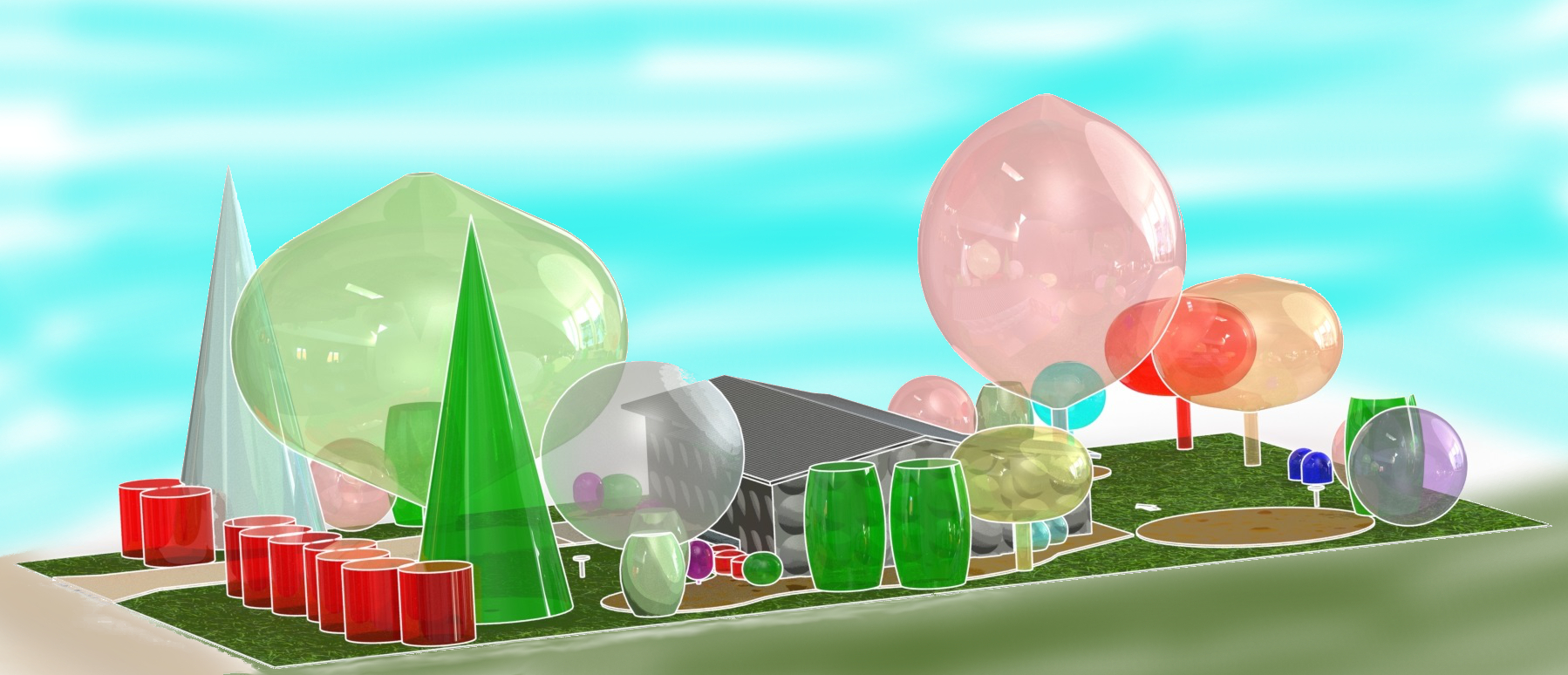 RENDERING - Landscaping Site Plan - SolidWorks CAD - cartoon 3 Sky