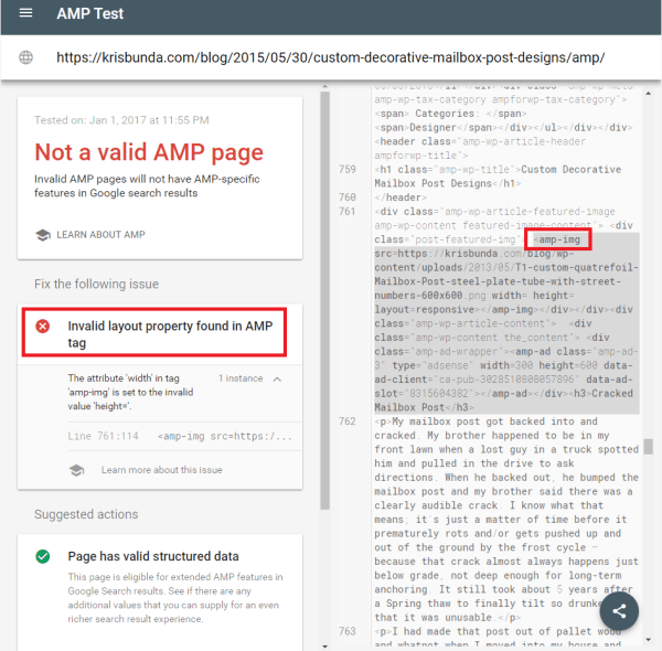 GOOGLE SEARCH CONSOLE - AMP Page with Not Valid Structured Data